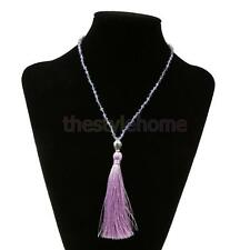 Vintage Buddha Lady Fringed Long Beads Chain Pendant Necklace Sweater Ornaments