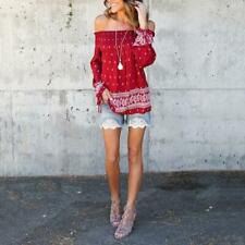 Summer Sexy Women Off Shoulder Loose Blouse Long Sleeve Loose Casual Shirt Tops
