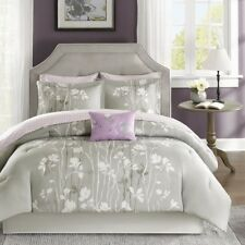 NEW Twin Full Queen Cal King Bed 9 pc Gray Purple Nature Comforter Sheet Set NWT