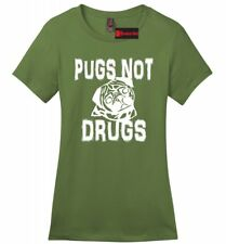 Pugs Not Drugs Funny Ladies Soft T Shirt Puppy Dog Lover Animals Gift Tee Z4