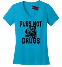 Pugs Not Drugs Funny Ladies V-Neck T Shirt Puppy Dog Lover Animals Gift Tee Z5