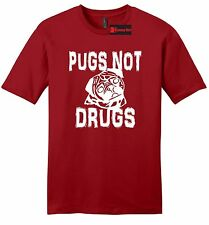 Pugs Not Drugs Funny Mens Soft T Shirt Puppy Dog Lover Animals Gift Tee Shirt Z2