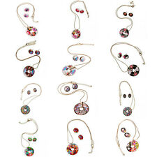Round Charm Pendant Golden Necklace Enamel Matching Earring Jewelry Sets