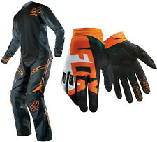 Fox Grey/Orange Mens Legion Offroad Jersey & Pants w Green Dirtpaw Vandal Gloves