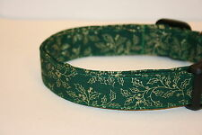 Green Gold Holly Leaves Christmas Dog & Cat Collars & Martingales & Leashes