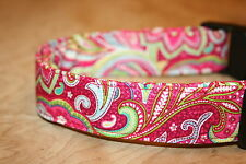 Bright Pink Paisley Adjustable Dog Collars & Martingales & Leashes & Cat Collars