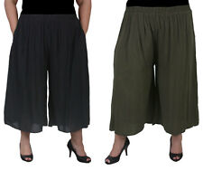 Plus Size Culotte Pants With Pockets | Lined | Rayon | Khaki Or Black