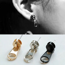 New 1 Pair Unisex Women Punk Cool Zipper Puller Stainless Steel Ear Stud Earring
