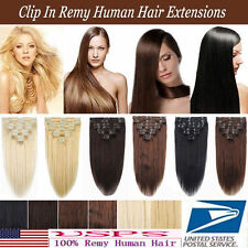 120g 8PCS Remy Hairpiece Clip In Real Human Hair Extensions Full Head 16''~26''