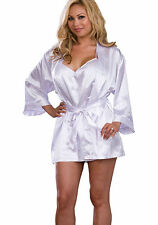 Dreamgirl 2Pc Yours Truly Charmeuse Robe Set Sexy Plus Size With Attached Belt