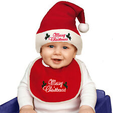 BABIES BIB & SANTA HAT CUTE FANCY DRESS CHRISTMAS RED PINK BLUE OUTFIT NEW