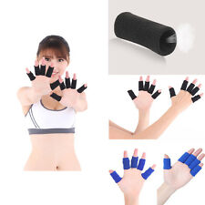 10 Black & Blue Finger Bands Brace Support Sleeve Sports Basketball Volleyball