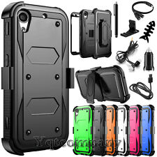 REFINED ARMOR COVER PHONE CASE & SWIVEL HOLSTER FOR HTC Desire 530 +BUNDLE BLACK