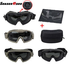 Tactical Eye Protective Regulator Goggles Airsoft Sun Glasses With Fan & 2 Lens