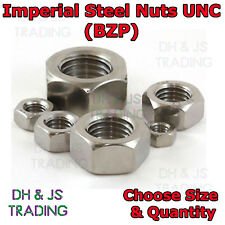 "Imperial Hexagonal Steel Nuts Standard Full Nut BZP Zinc Plated 1/4"" - 5/8"" UNC"