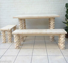 Handmade Dining Table and Bench Dining Set / chunky rustic bespoke solid wood