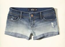NEW HOLLISTER BY ABERCROMBIE & FITCH OMBRE DISTRESSED LOW RISE JEAN SHORTS SZ 1