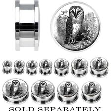 Steel Black and White Owl Screw Fit Plug