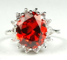 CLEMSON FANS! • SR283, Created Padparadsha CZ, 925 Sterling Silver Ladies Ring