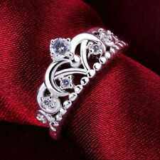 Fashion Women 925 Silver Plated Pretty Crown Lady Crystal Ring Princess Ring