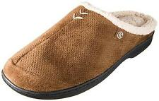 Mens Isotoner Ian Clog Slipper Microsuede Perforated Shepra lined BROWN