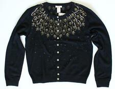 SUNDANCE CATALOG THREE WISHES CARDIGAN BEADED MERINO WOOL SWEATER BLACK $158 NEW