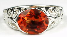 CLEMSON FANS! SR360, Created Padparadsha CZ, East-West 925 Sterling Silver Ring