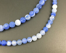 blue frosted agate gemstone beads round loose semi precious beads 8mm 10mm 15''