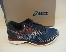 ASICS MENS NIMBUS 18 RUNNING SNEAKERS- SHOES- T600N-5858- POSEIDON/ SAPPHIRE/RED