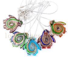 6Pcs Wholesale Handmade Murano Lampwork Glass Animals Pendant Silver P Necklaces