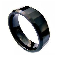 8mm Black Ceramic Faceted Fashion Wedding Band High Polish Comfort Fit Ring