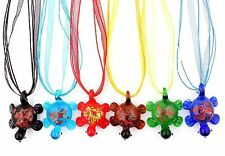 6Pcs Wholesale Lot Handmade Murano Glass Flower Inside Pendant Silver P Necklace