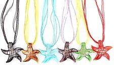 6Ps Wholesale Lot Handmade Murano Glass Mixed Starfish Pendant Silver P Necklace
