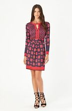 Hale Bob Long Sleeve Purple Printed Jersey Shift Dress XS NWT $106 4EMM6488