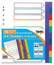 A4 10 Part Extrawide Dividers Colour Coded Tabbed Ringbinder Folder Index Sheet