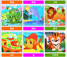 9pcs Cartoon Animal Wooden Toy Baby Educational Toy Jigsaw Puzzle