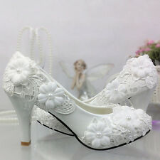 Fashion White lace crystal Wedding shoes Bridal flats/low/high heels size