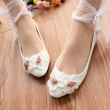 White lace crystal Wedding shoes Bridal flats/low/high heels size