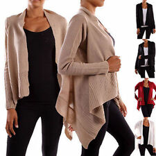 Juniors Solid Long Sleeve Irregular Hem Open Draped Knit Sweater Cardigan