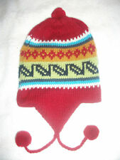 New Made In Peru Pom Pom Hat Chullo Alpaca Blend Ski Hat Colorful Red #9257