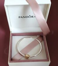NEW! Authentic Pandora Silver w/14K Gold Bangle Bracelet #590718 $325