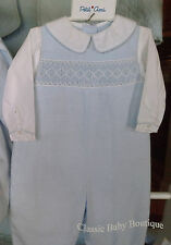 NWT Petit Ami Blue Smocked 3 6 9 months Baby Boys Longall Romper Smocking