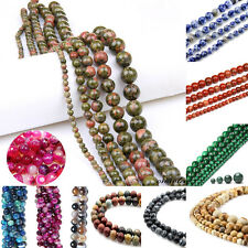 100% Natural Gemstone Round Spacer Loose Beads Jewellery Finding 4/6/8/10/12 MM