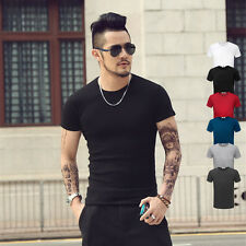 Solid Color T Shirt Fashion Sex Men's Tops Tees T-Shirt Short Sleeve O-NeckTX95
