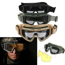 CS Airsoft Tactical SWAT Goggles Anti-fog Glasses Eye Protection Mask W/ 2 Lens