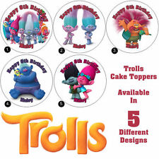 Trolls Cake or Cupcake Toppers Luxury Icing, Wafer Paper, Any NAME & TEXT