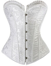Plus Size White Vintage Bridal Brocade Steel Boned Corset - Aussie Seller