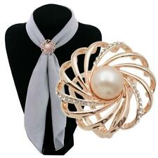 1pcs Fashion Spiral Pearl Tricyclic Scarf Ring Scarf Buckle Clip Pins