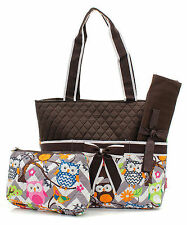 Owl Chevron Stripe Quilted Canvas Diaper Bag Baby Changing Pad Cosmetic Bag