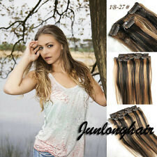 200g 10pcs Virgin Remy Hair Clip In Real Human Hair Extensions #1B/27 Mix Blonde